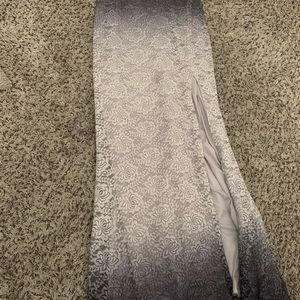 Long slit grey dress